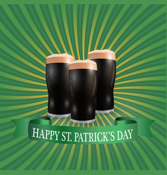 Image of three glasses of dark beer greeting vector