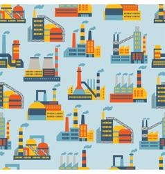Industrial factory buildings seamless pattern vector image