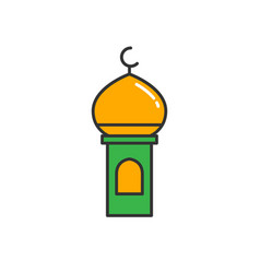 Islam minaret or mosque dome tower simple vector