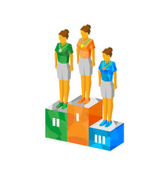 Isometric women champions on pedestal with medals vector