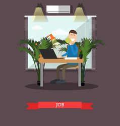 job with coffee in flat style vector image