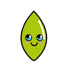 Kawaii happy leaf icon vector