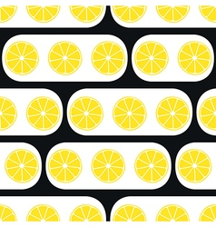 Lemons slices with black modern ornament vector