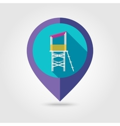 Lifeguard tower flat mapping pin icon vector