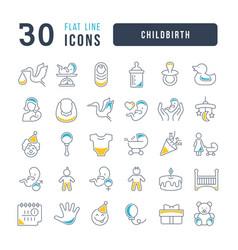 Line icons childbirth vector