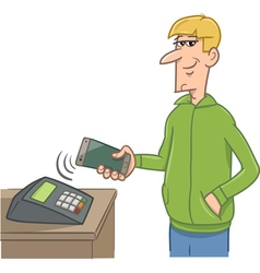 man paying with smart phone vector image