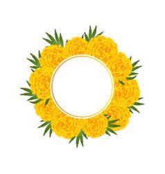 Marigold flower - tagetes banner wreath vector