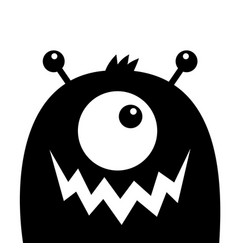 Monster head black silhouette one eye teeth fang vector