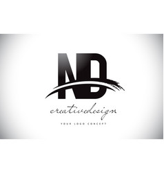 Nd n d letter logo design with swoosh and black vector