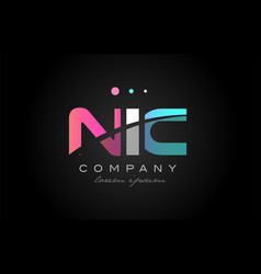 nic n i c three letter logo icon design vector image