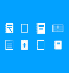 notebook icon blue set vector image
