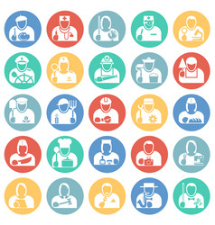Occupations icon set on color circles background vector