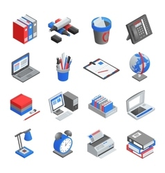 Office Tools Isometric Icons Set vector
