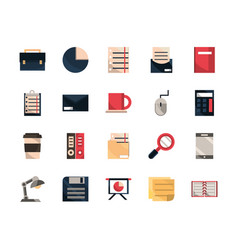 office work business equipment icons set vector image
