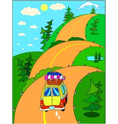 on vacation in the mountains vector image