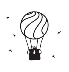 Outline hot air balloon with lovers vector
