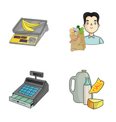 Package scales banana fruit supermarket set vector