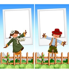 Paper template with scarecrows in background vector