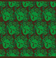 Pattern with green sleeping medusa heads vector
