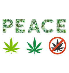 Peace label composition of weed leaves vector
