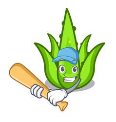 Playing baseball aloevera character cartoon style vector