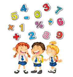 school kids and many numbers vector image