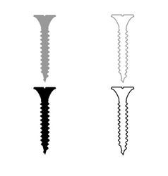 screw icon outline set grey black color vector image
