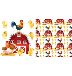 seamless background design with chickens and barn vector image