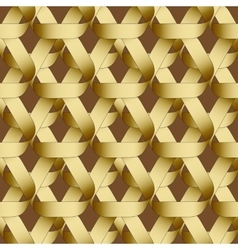 Seamless geometric pattern with golden ribbons vector image
