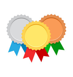 set award medals with colorful ribbon gold vector image