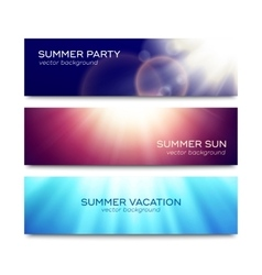 Set of horizontal banners with sun rays vector image