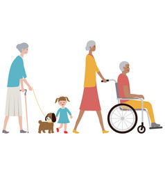 set old people a grandchild and a dog vector image
