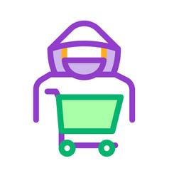 Shopping cart thief icon outline vector