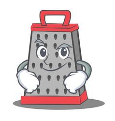 Smirking kitchen grater character cartoon vector