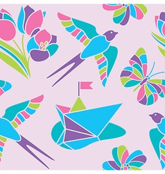 Spring mosaic seamless pattern vector