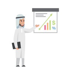 successful arab man in white clothes vector image