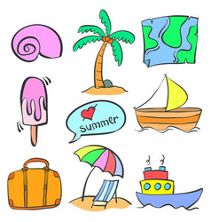 summer element cartoon doodle style vector image