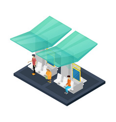 town waiting station isometric 3d icon vector image