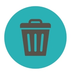 Trash Can flat grey and cyan colors round button vector