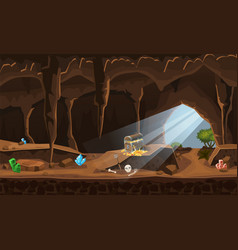 treasure cave with chest gold coins gems concept vector image