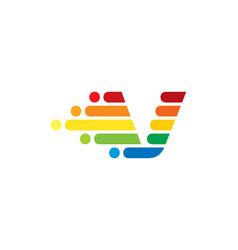v colorful letter speed pixel logo icon design vector image