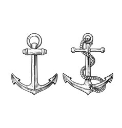 vintage sea anchor with a rope vector image