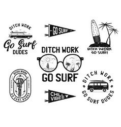 vintage summer logos surfing badges set hand vector image