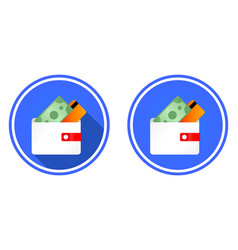 wallet round flat icon vector image