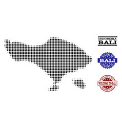 Welcome composition of halftone map of bali island vector