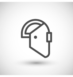 Welding mask line icon vector