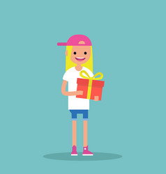 young happy blond girl holding a bright gift box vector image