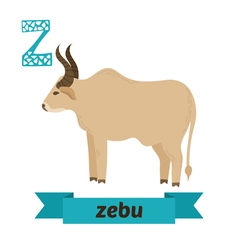 Zebu Z letter Cute children animal alphabet in vector image