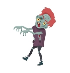 Zombie Character Walking with Stretched Hands vector