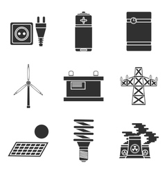 Energy generating systems icons set vector image vector image